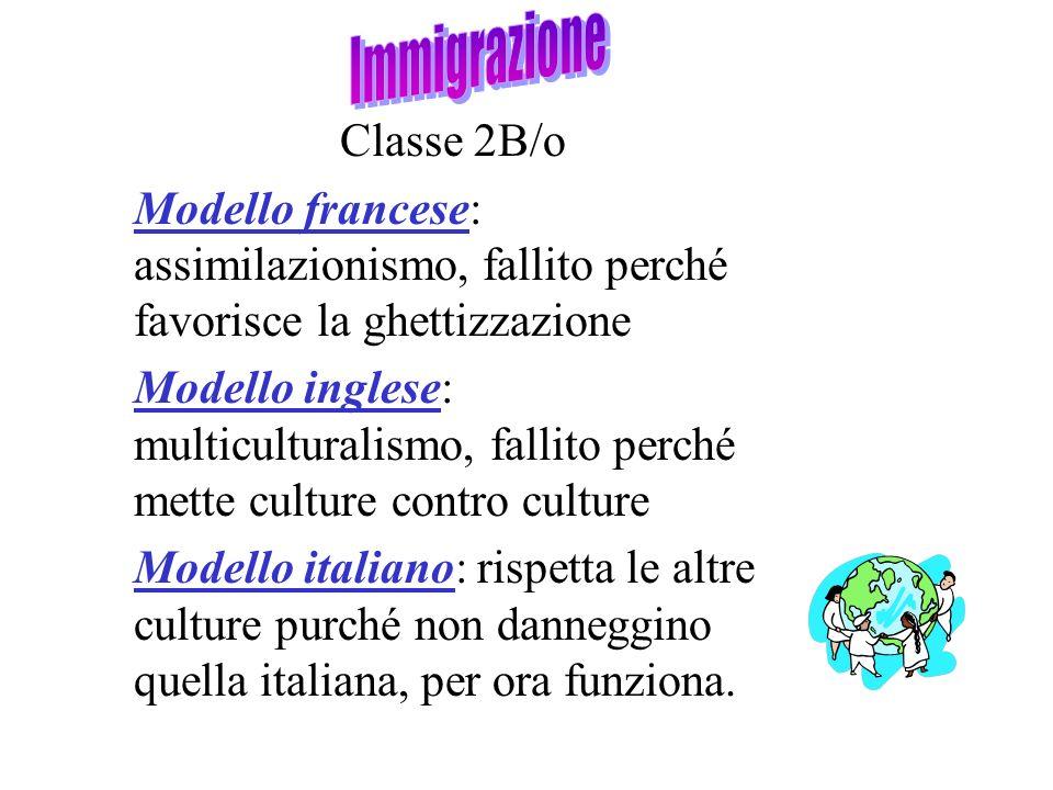 Classe 2B/o Modello francese: assimilazionismo, fallito perché favorisce la ghettizzazione Modello inglese: multiculturalismo, fallito perché mette cu