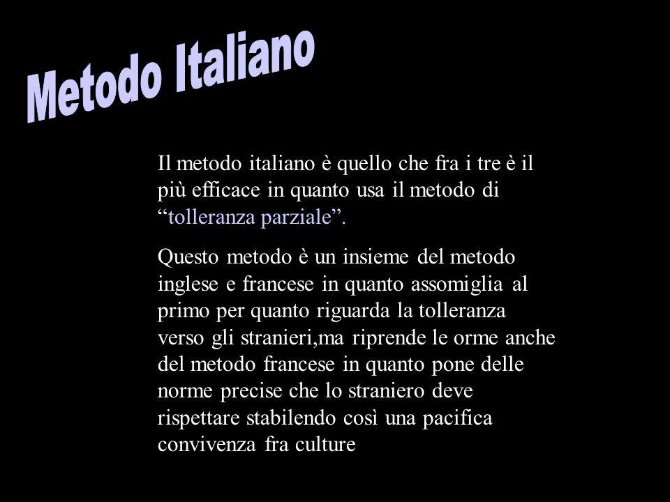 Il metodo italiano è quello che fra i tre è il più efficace in quanto usa il metodo di tolleranza parziale.