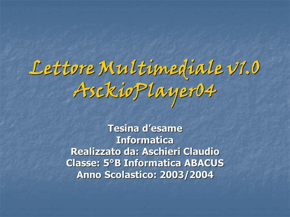Lettore Multimediale v1.0 AsckioPlayer04 Tesina desame Informatica Realizzato da: Aschieri Claudio Classe: 5°B Informatica ABACUS Anno Scolastico: 2003/2004
