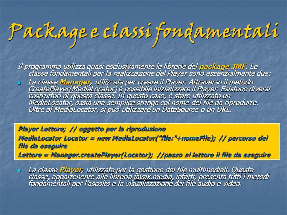 Package e classi fondamentali Il programma utilizza quasi esclusivamente le librerie del package JMF.