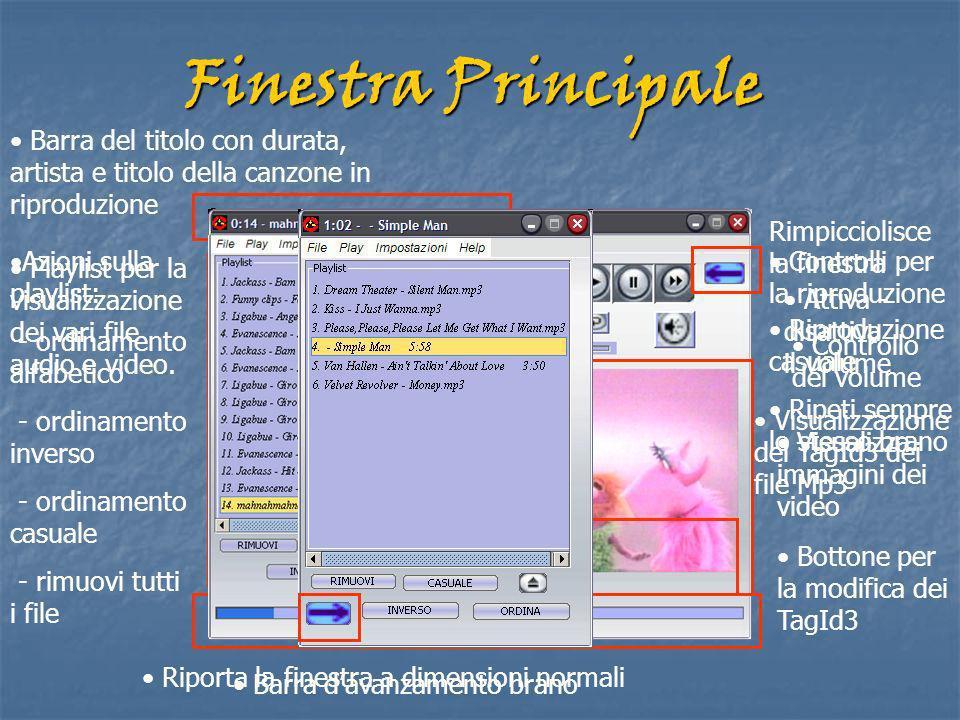 Finestra Principale Controlli per la riproduzione Playlist per la visualizzazione dei vari file audio e video.