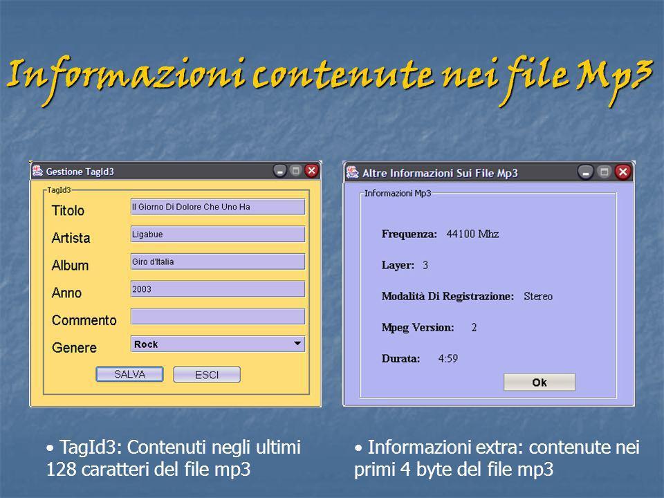 Informazioni contenute nei file Mp3 TagId3: Contenuti negli ultimi 128 caratteri del file mp3 Informazioni extra: contenute nei primi 4 byte del file mp3