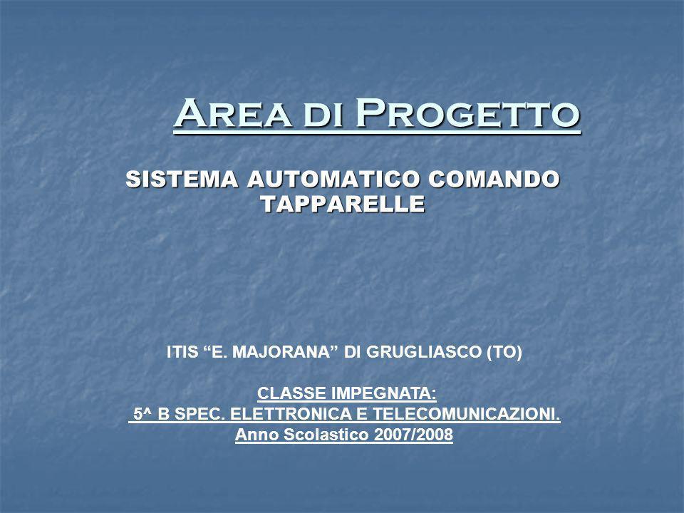 Area di Progetto Area di Progetto SISTEMA AUTOMATICO COMANDO TAPPARELLE ITIS E. MAJORANA DI GRUGLIASCO (TO) CLASSE IMPEGNATA: 5^ B SPEC. ELETTRONICA E