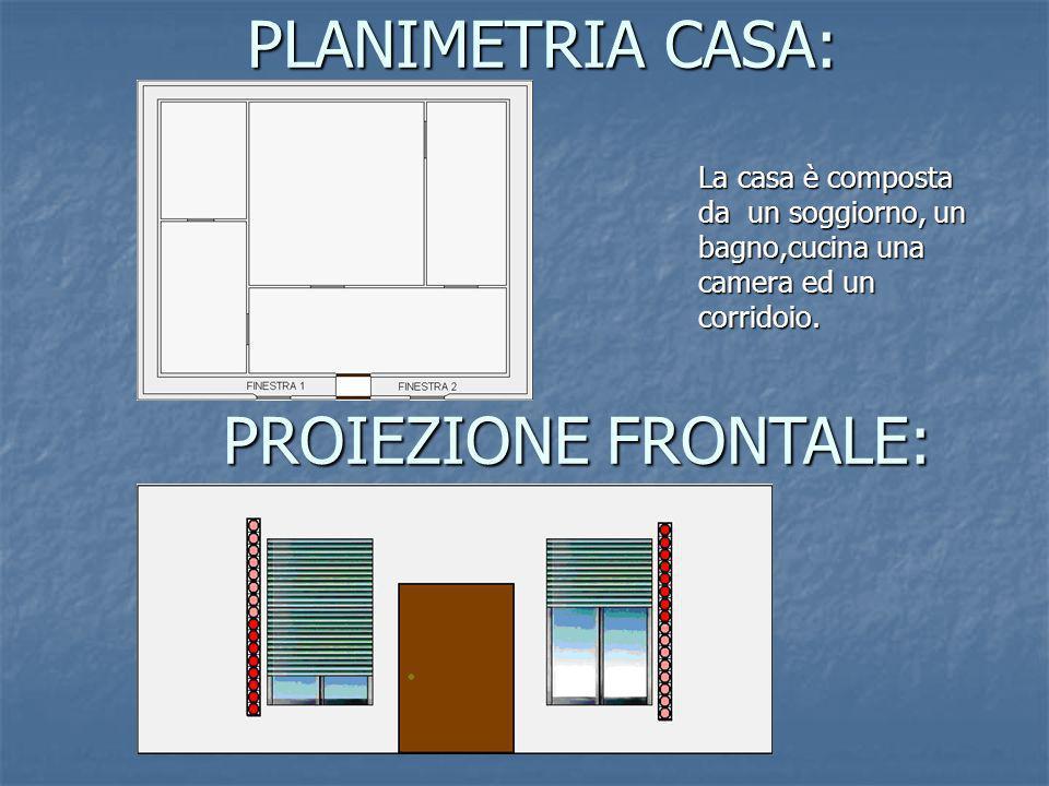 PLANIMETRIA CASA: La casa è composta da un soggiorno, un bagno,cucina una camera ed un corridoio. La casa è composta da un soggiorno, un bagno,cucina