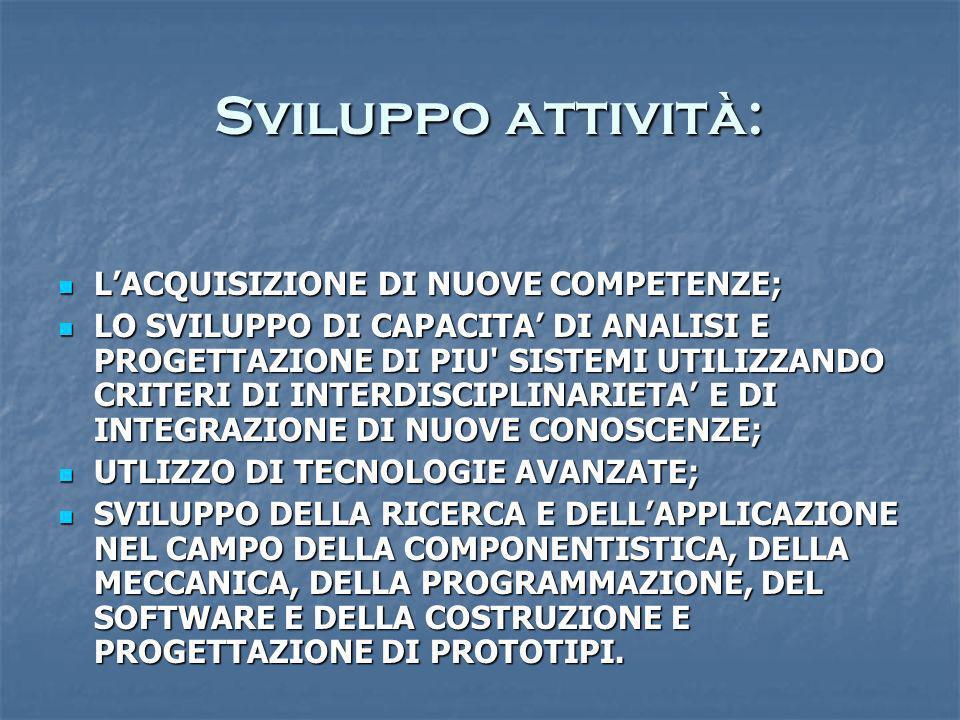 Sviluppo attività: Sviluppo attività: LACQUISIZIONE DI NUOVE COMPETENZE; LACQUISIZIONE DI NUOVE COMPETENZE; LO SVILUPPO DI CAPACITA DI ANALISI E PROGE
