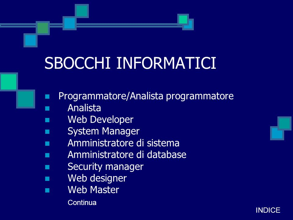 Consulente aziendale E-commerce manager Formatore Analista ERP Account Business unit manager di Tlc Key account Project manager Program manager Call center manager Edp manager INDICE