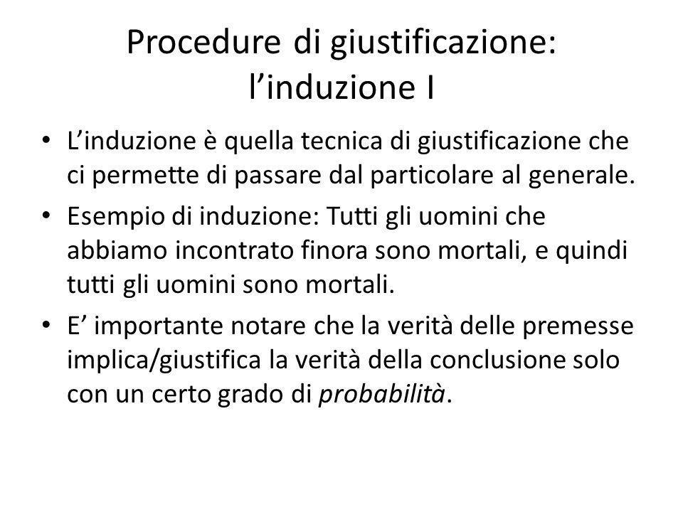 Procedure di giustificazione: linduzione I Linduzione è quella tecnica di giustificazione che ci permette di passare dal particolare al generale.