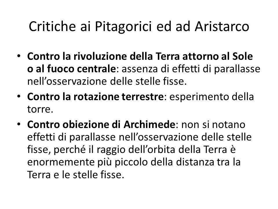 Critiche ai Pitagorici ed ad Aristarco Contro la rivoluzione della Terra attorno al Sole o al fuoco centrale: assenza di effetti di parallasse nellosservazione delle stelle fisse.
