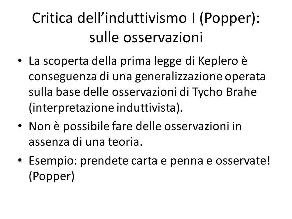 Critica dellinduttivismo I (Popper): sulle osservazioni La scoperta della prima legge di Keplero è conseguenza di una generalizzazione operata sulla base delle osservazioni di Tycho Brahe (interpretazione induttivista).
