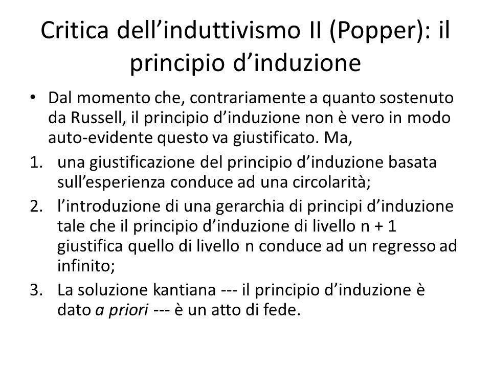 Critica dellinduttivismo II (Popper): il principio dinduzione Dal momento che, contrariamente a quanto sostenuto da Russell, il principio dinduzione non è vero in modo auto-evidente questo va giustificato.