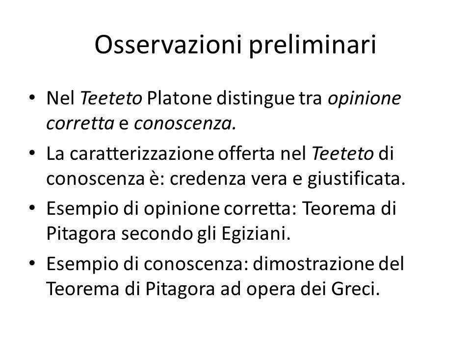 Osservazioni preliminari Nel Teeteto Platone distingue tra opinione corretta e conoscenza.