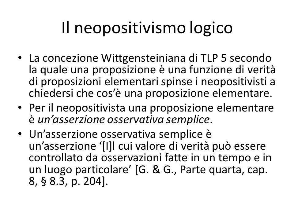Il neopositivismo logico La concezione Wittgensteiniana di TLP 5 secondo la quale una proposizione è una funzione di verità di proposizioni elementari spinse i neopositivisti a chiedersi che cosè una proposizione elementare.