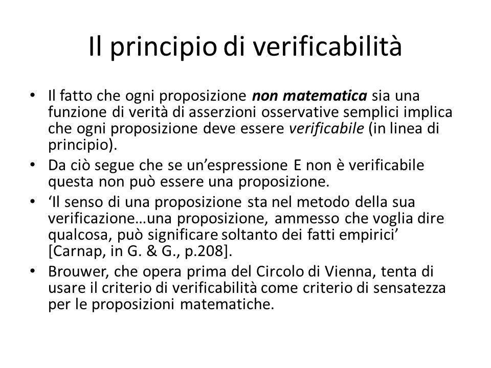 Il principio di verificabilità Il fatto che ogni proposizione non matematica sia una funzione di verità di asserzioni osservative semplici implica che ogni proposizione deve essere verificabile (in linea di principio).