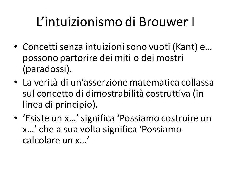 Lintuizionismo di Brouwer I Concetti senza intuizioni sono vuoti (Kant) e… possono partorire dei miti o dei mostri (paradossi).