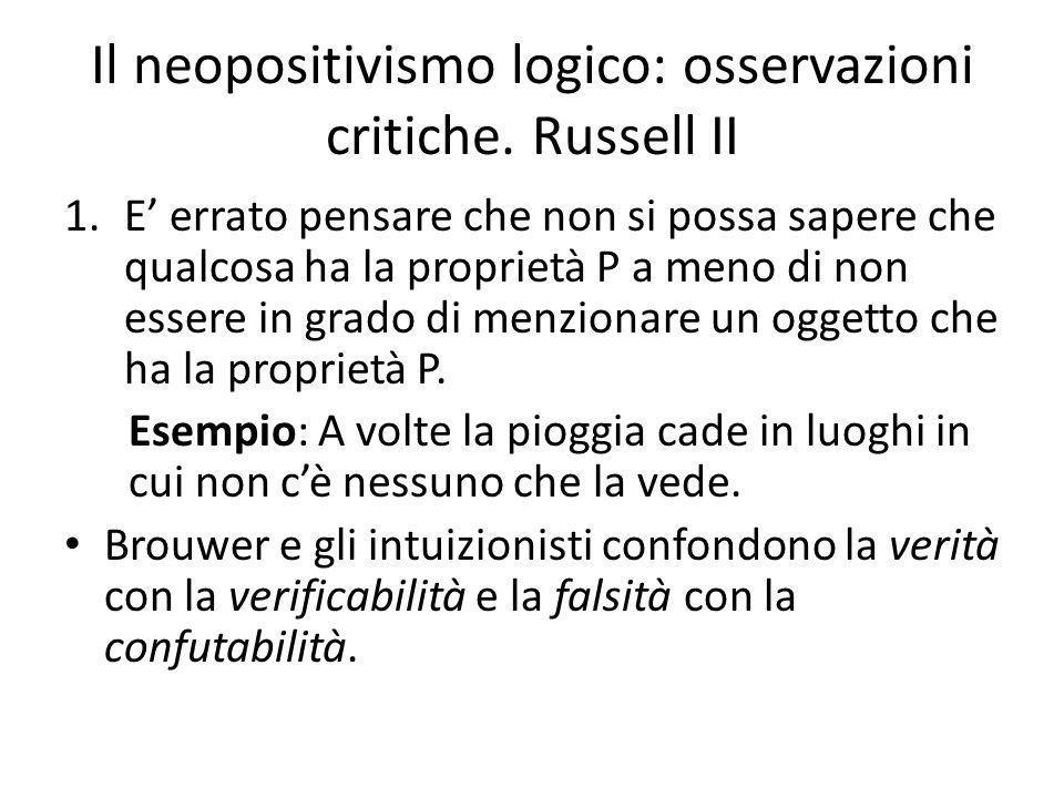 Il neopositivismo logico: osservazioni critiche.