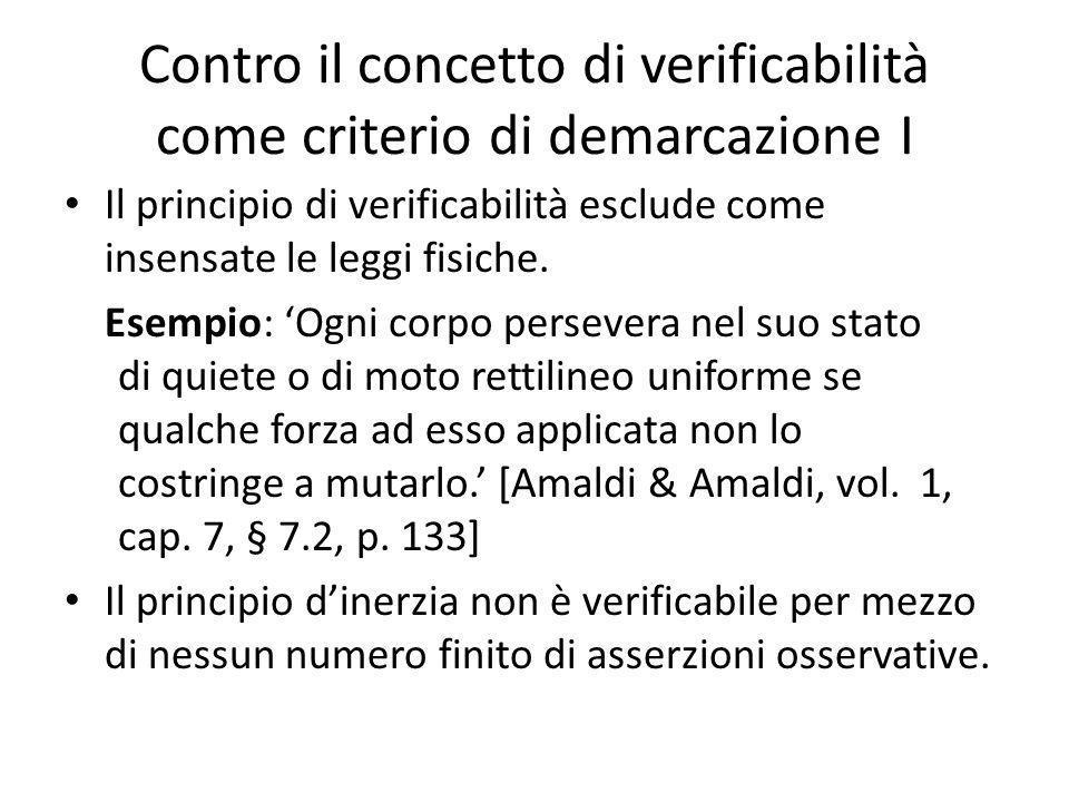 Contro il concetto di verificabilità come criterio di demarcazione I Il principio di verificabilità esclude come insensate le leggi fisiche.