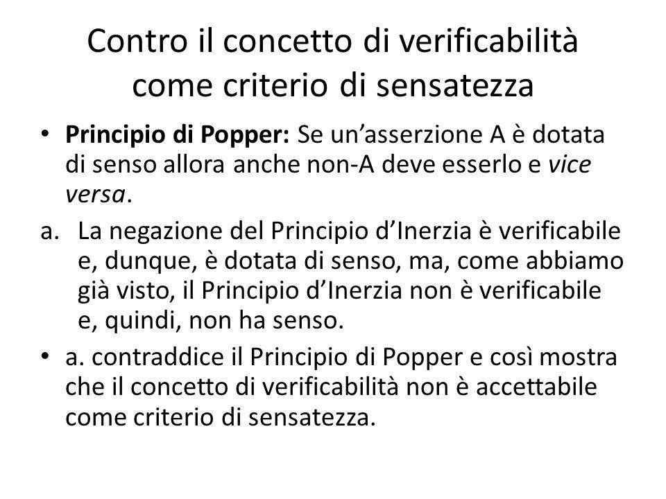 Contro il concetto di verificabilità come criterio di sensatezza Principio di Popper: Se unasserzione A è dotata di senso allora anche non-A deve esserlo e vice versa.