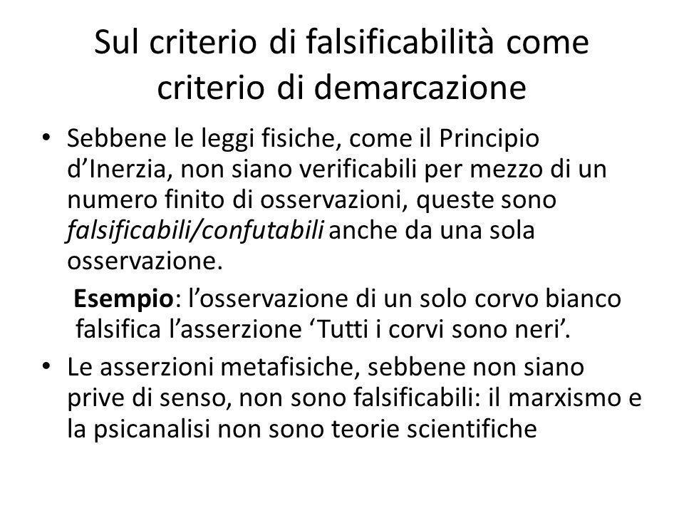 Sul criterio di falsificabilità come criterio di demarcazione Sebbene le leggi fisiche, come il Principio dInerzia, non siano verificabili per mezzo di un numero finito di osservazioni, queste sono falsificabili/confutabili anche da una sola osservazione.