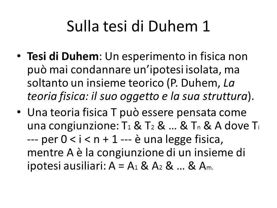 Sulla tesi di Duhem 1 Tesi di Duhem: Un esperimento in fisica non può mai condannare unipotesi isolata, ma soltanto un insieme teorico (P.