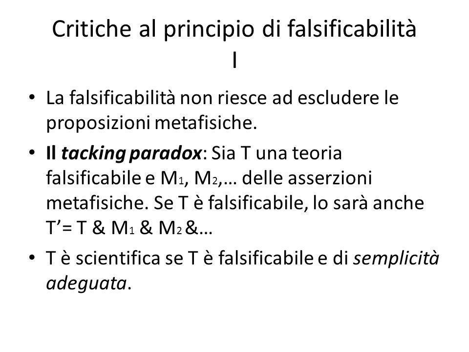 Critiche al principio di falsificabilità I La falsificabilità non riesce ad escludere le proposizioni metafisiche.
