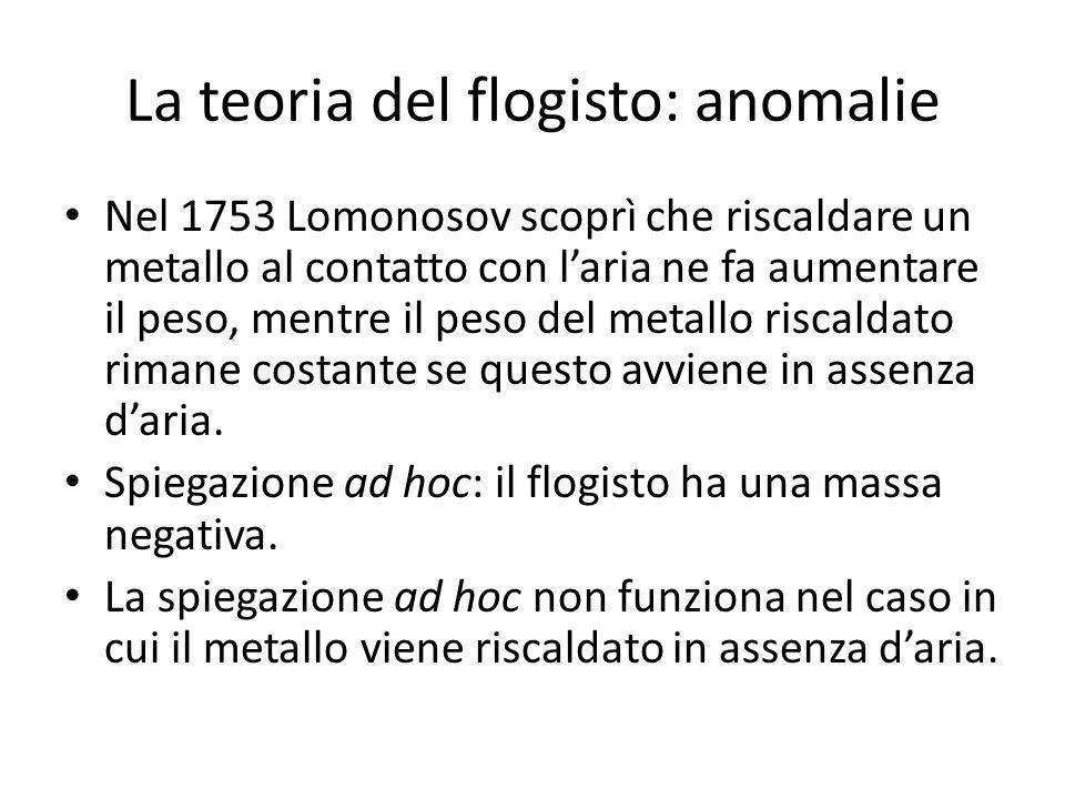 La teoria del flogisto: anomalie Nel 1753 Lomonosov scoprì che riscaldare un metallo al contatto con laria ne fa aumentare il peso, mentre il peso del metallo riscaldato rimane costante se questo avviene in assenza daria.