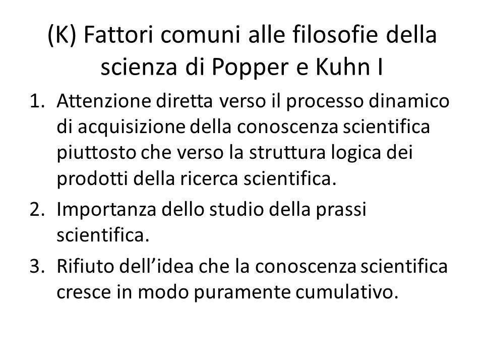 (K) Fattori comuni alle filosofie della scienza di Popper e Kuhn I 1.Attenzione diretta verso il processo dinamico di acquisizione della conoscenza scientifica piuttosto che verso la struttura logica dei prodotti della ricerca scientifica.
