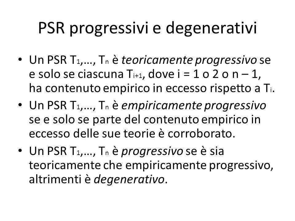 PSR progressivi e degenerativi Un PSR T 1,…, T n è teoricamente progressivo se e solo se ciascuna T i+1, dove i = 1 o 2 o n – 1, ha contenuto empirico in eccesso rispetto a T i.