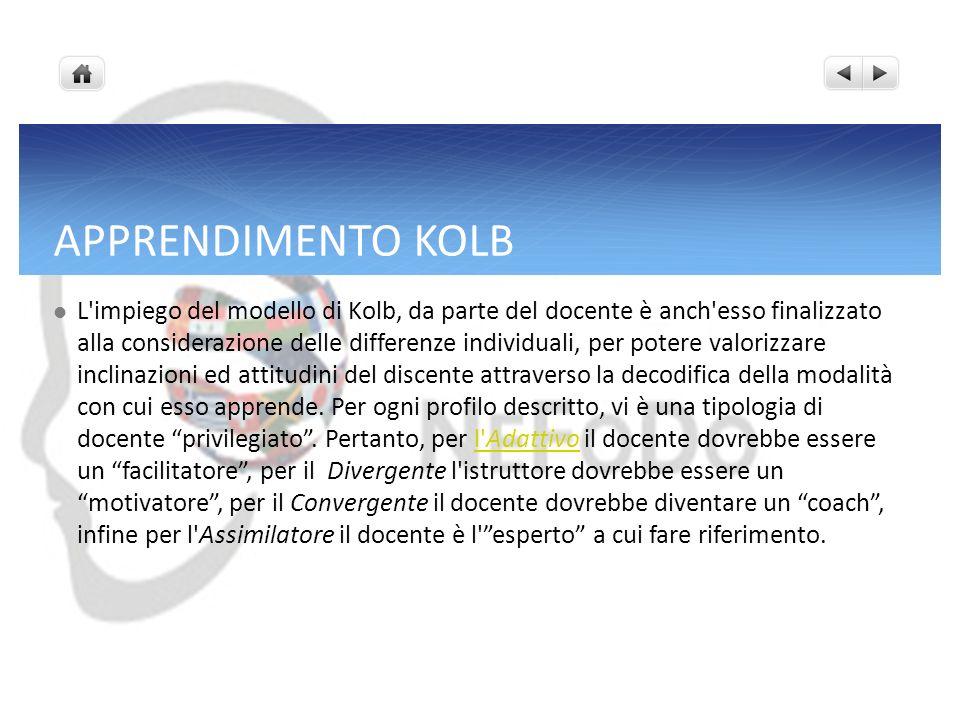 APPRENDIMENTO KOLB L'impiego del modello di Kolb, da parte del docente è anch'esso finalizzato alla considerazione delle differenze individuali, per p