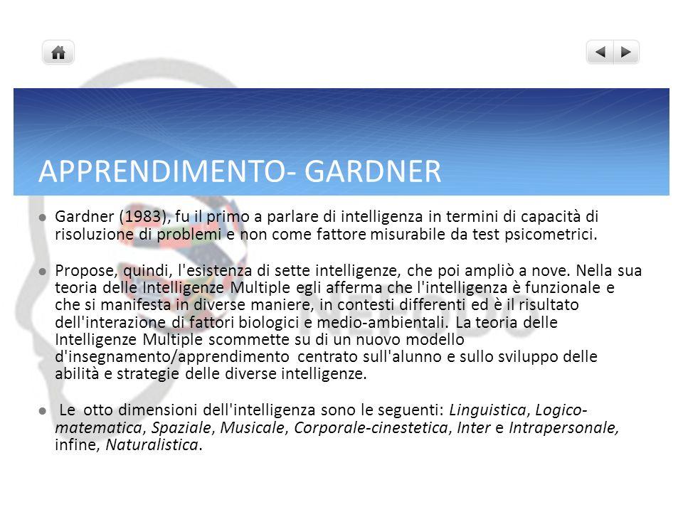 APPRENDIMENTO- GARDNER Gardner (1983), fu il primo a parlare di intelligenza in termini di capacità di risoluzione di problemi e non come fattore misu