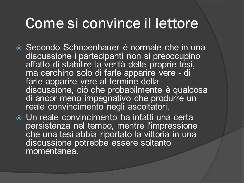 Come si convince il lettore Secondo Schopenhauer è normale che in una discussione i partecipanti non si preoccupino affatto di stabilire la verità del