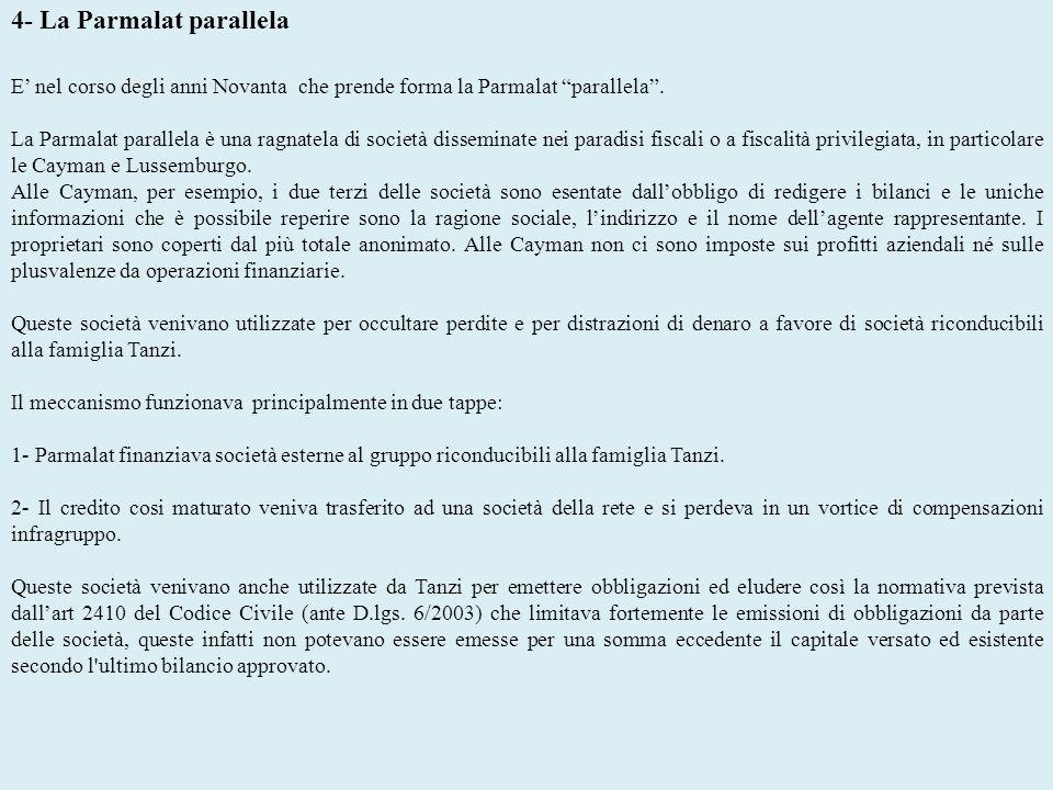 4- La Parmalat parallela E nel corso degli anni Novanta che prende forma la Parmalat parallela. La Parmalat parallela è una ragnatela di società disse