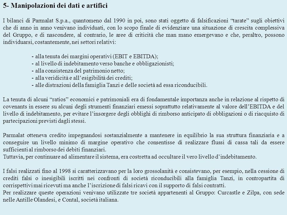 5- Manipolazioni dei dati e artifici I bilanci di Parmalat S.p.a., quantomeno dal 1990 in poi, sono stati oggetto di falsificazioni tarate sugli obiet
