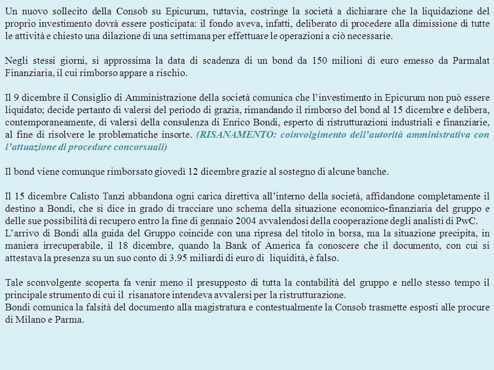 Un nuovo sollecito della Consob su Epicurum, tuttavia, costringe la società a dichiarare che la liquidazione del proprio investimento dovrà essere pos