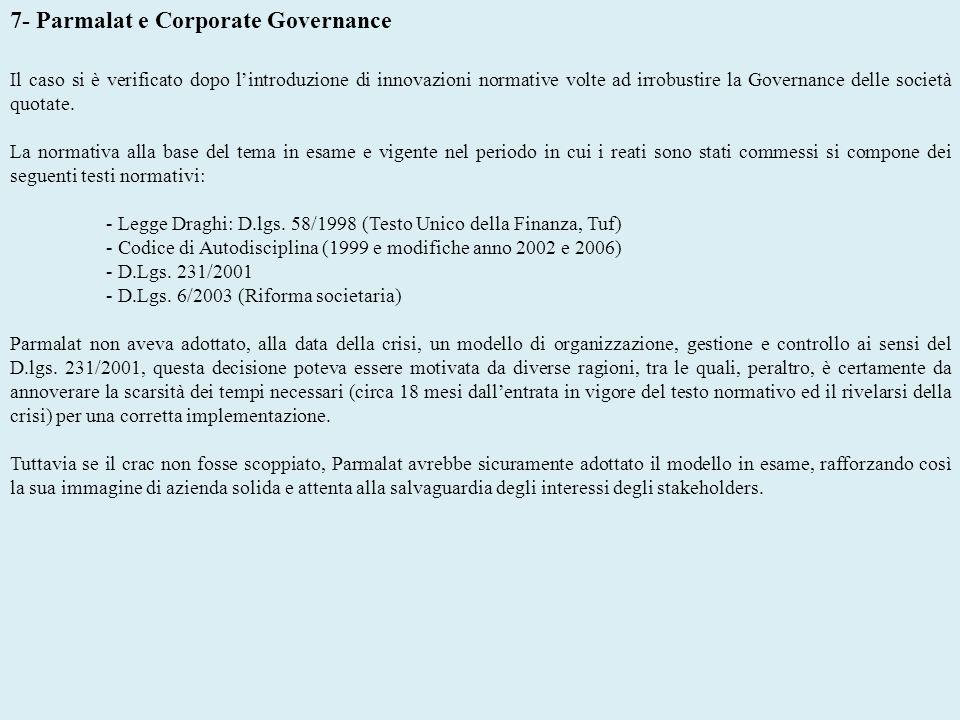 7- Parmalat e Corporate Governance Il caso si è verificato dopo lintroduzione di innovazioni normative volte ad irrobustire la Governance delle societ