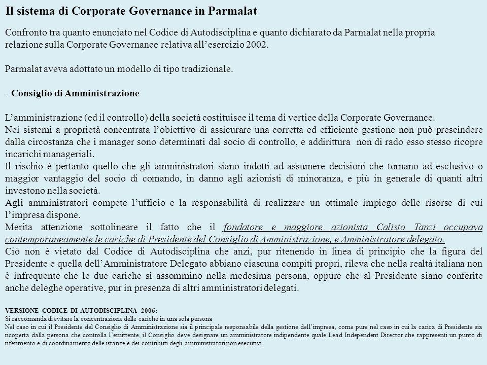 Il sistema di Corporate Governance in Parmalat Confronto tra quanto enunciato nel Codice di Autodisciplina e quanto dichiarato da Parmalat nella propr