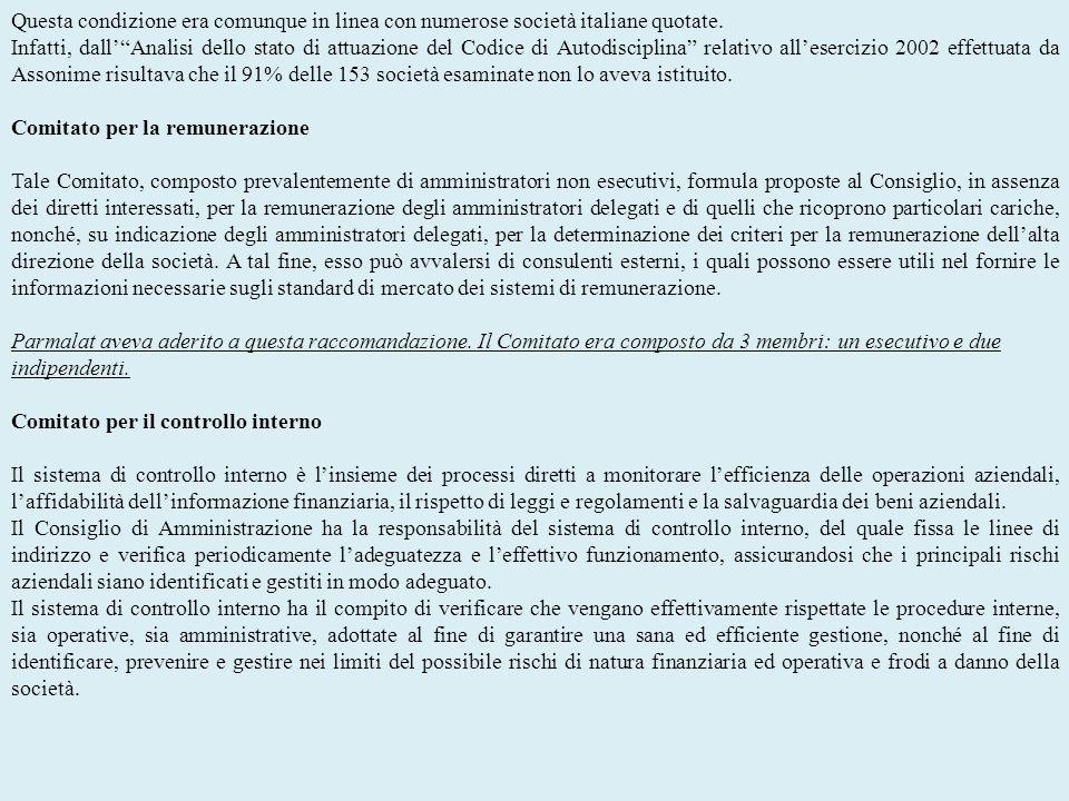 Questa condizione era comunque in linea con numerose società italiane quotate. Infatti, dallAnalisi dello stato di attuazione del Codice di Autodiscip