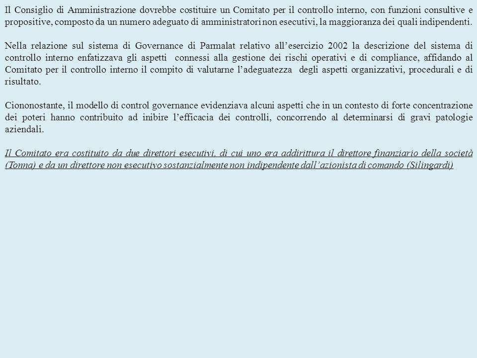 Il Consiglio di Amministrazione dovrebbe costituire un Comitato per il controllo interno, con funzioni consultive e propositive, composto da un numero