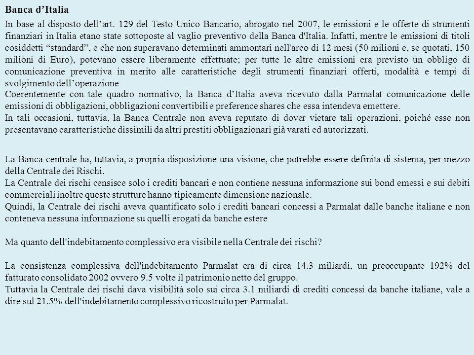 Banca dItalia In base al disposto dellart. 129 del Testo Unico Bancario, abrogato nel 2007, le emissioni e le offerte di strumenti finanziari in Itali