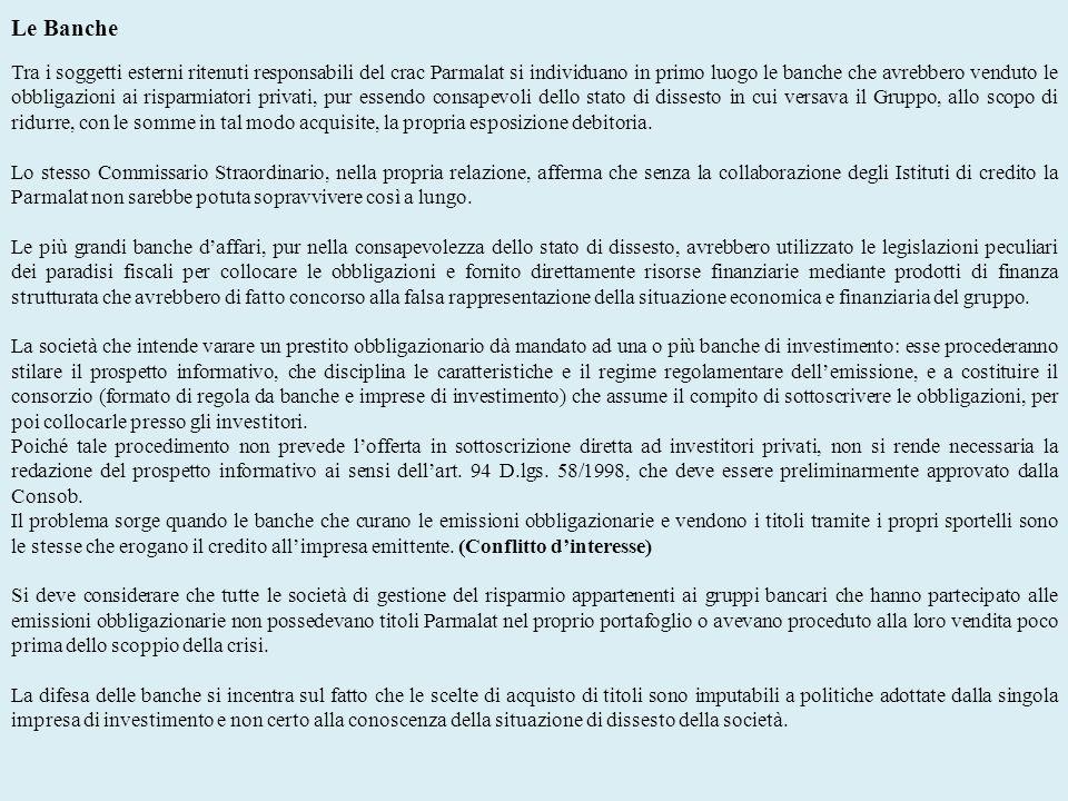 Le Banche Tra i soggetti esterni ritenuti responsabili del crac Parmalat si individuano in primo luogo le banche che avrebbero venduto le obbligazioni
