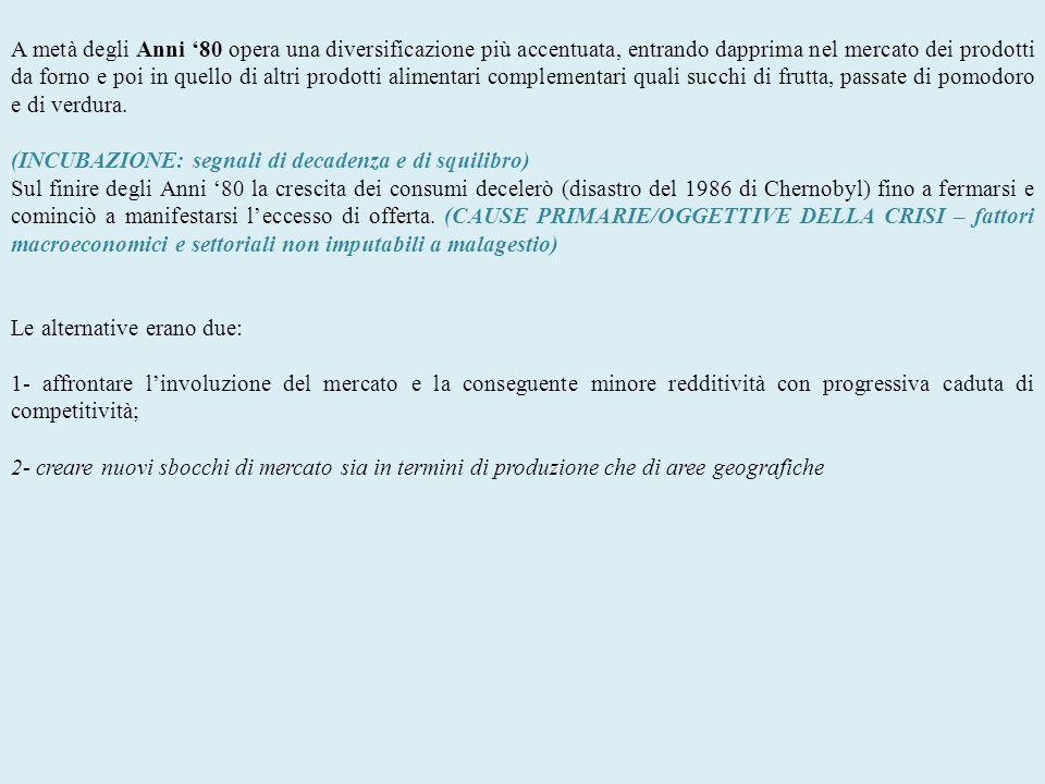 2- Espansione e conseguente aumento del livello dindebitamento Negli Anni 90 inizia la realizzazione del piano di internazionalizzazione.
