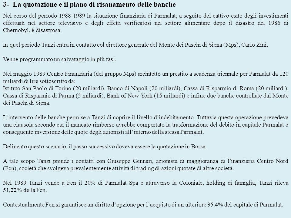 3- La quotazione e il piano di risanamento delle banche Nel corso del periodo 1988-1989 la situazione finanziaria di Parmalat, a seguito del cattivo e