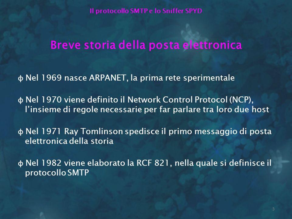 3 Il protocollo SMTP e lo Sniffer SPYD Breve storia della posta elettronica φ Nel 1969 nasce ARPANET, la prima rete sperimentale φ Nel 1970 viene defi