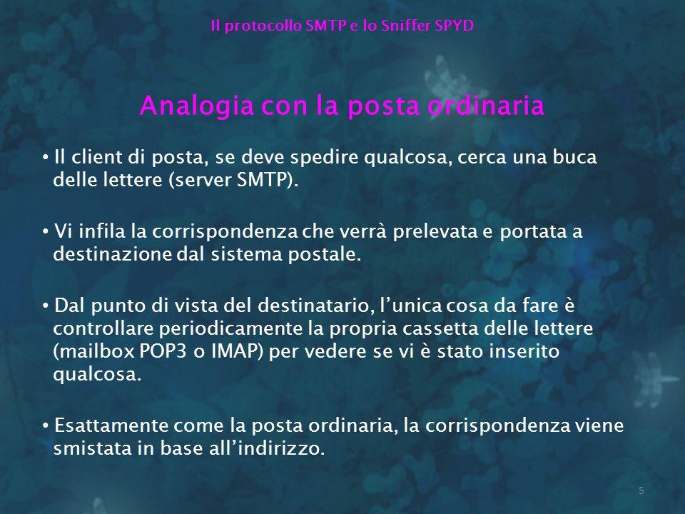 5 Il protocollo SMTP e lo Sniffer SPYD Analogia con la posta ordinaria Il client di posta, se deve spedire qualcosa, cerca una buca delle lettere (ser