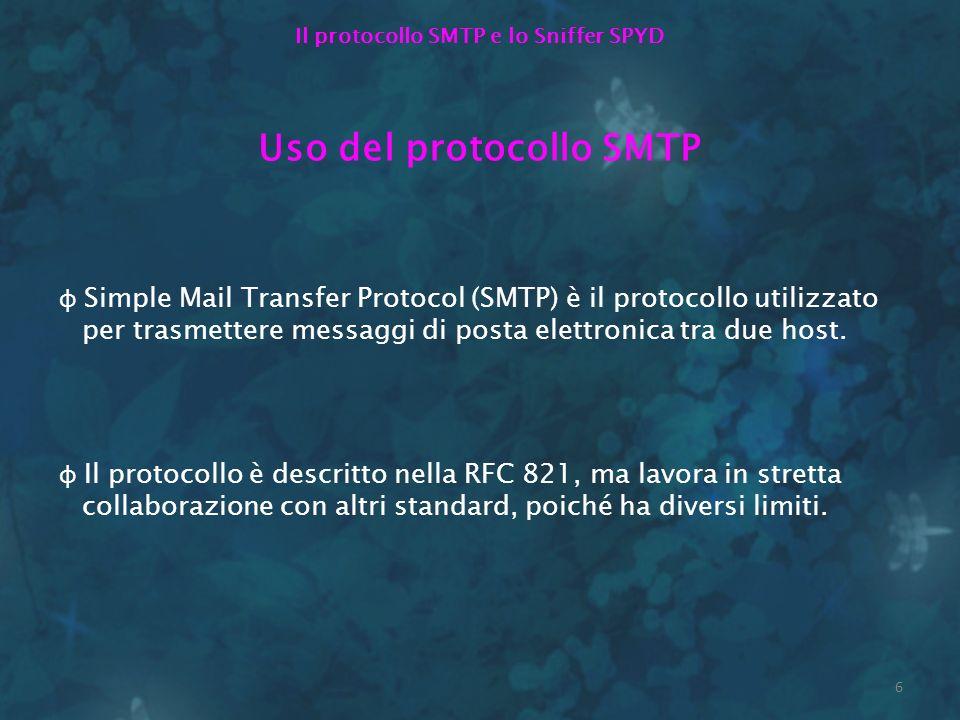 6 Il protocollo SMTP e lo Sniffer SPYD Uso del protocollo SMTP φ Simple Mail Transfer Protocol (SMTP) è il protocollo utilizzato per trasmettere messa