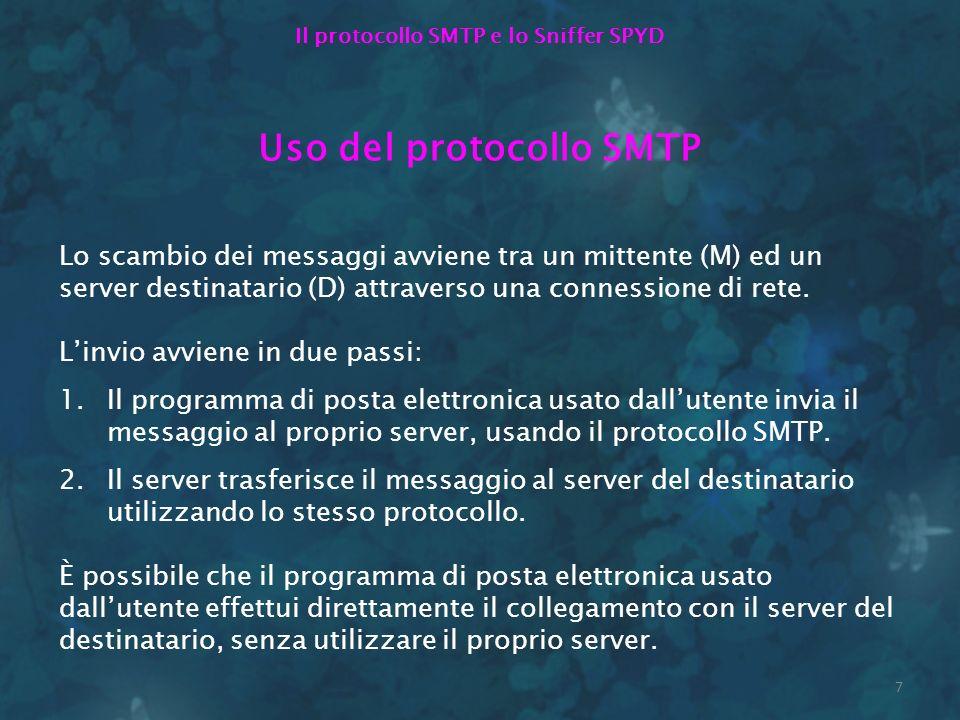 7 Il protocollo SMTP e lo Sniffer SPYD Uso del protocollo SMTP Lo scambio dei messaggi avviene tra un mittente (M) ed un server destinatario (D) attra