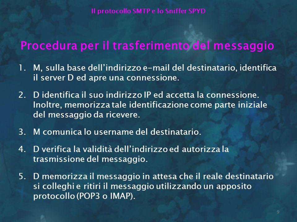 9 Il protocollo SMTP e lo Sniffer SPYD Procedura per il trasferimento del messaggio 1.M, sulla base dellindirizzo e-mail del destinatario, identifica