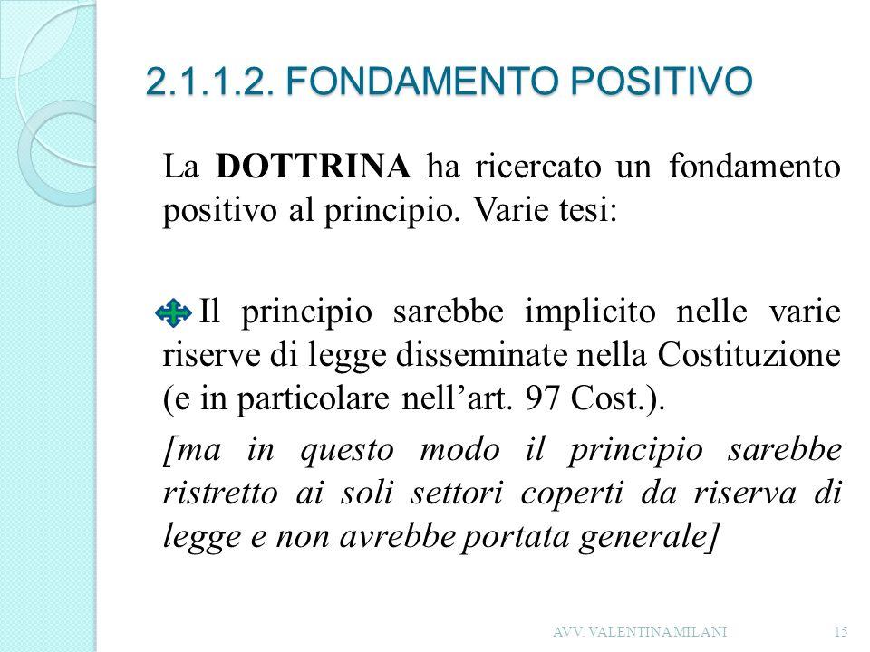 2.1.1.2. FONDAMENTO POSITIVO La DOTTRINA ha ricercato un fondamento positivo al principio. Varie tesi: Il principio sarebbe implicito nelle varie rise