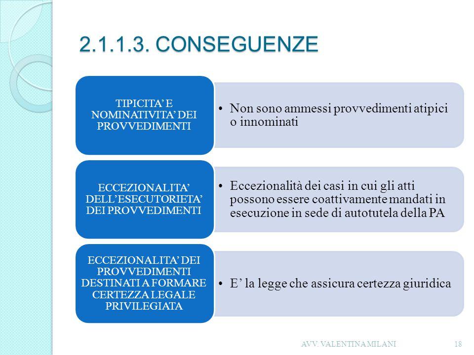 2.1.1.3. CONSEGUENZE Non sono ammessi provvedimenti atipici o innominati TIPICITA E NOMINATIVITA DEI PROVVEDIMENTI Eccezionalità dei casi in cui gli a
