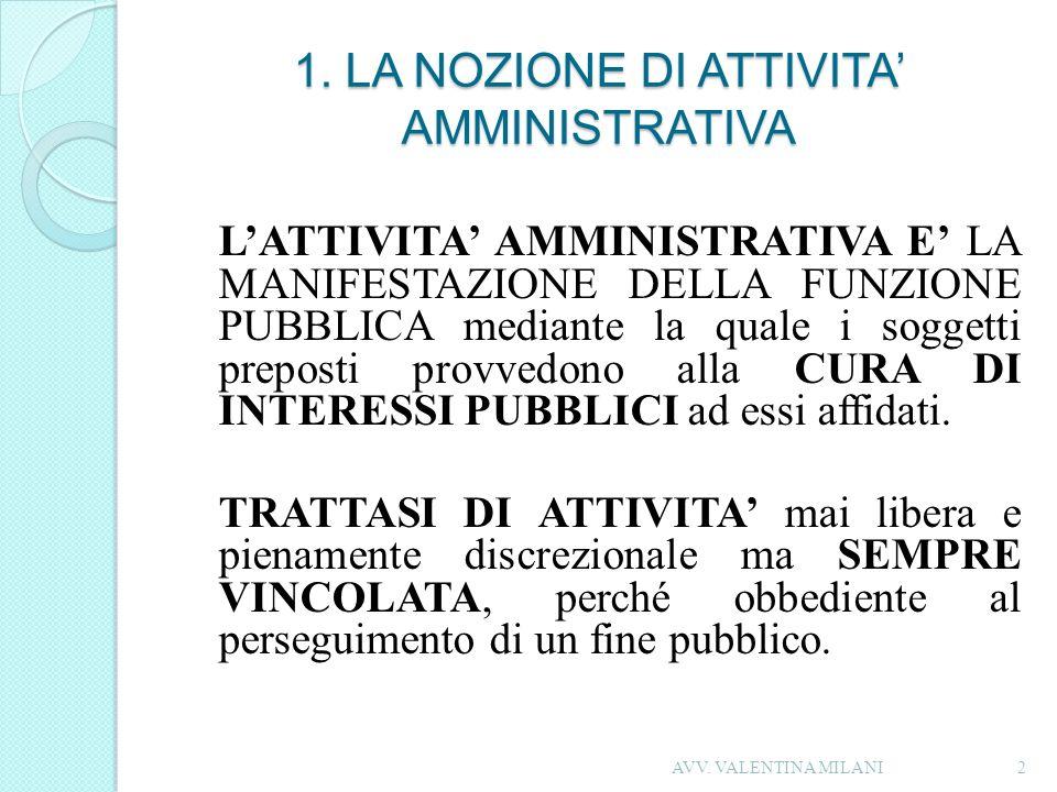 1. LA NOZIONE DI ATTIVITA AMMINISTRATIVA LATTIVITA AMMINISTRATIVA E LA MANIFESTAZIONE DELLA FUNZIONE PUBBLICA mediante la quale i soggetti preposti pr