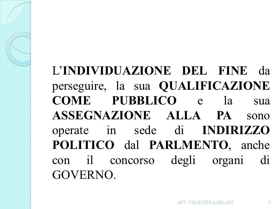 LINDIVIDUAZIONE DEL FINE da perseguire, la sua QUALIFICAZIONE COME PUBBLICO e la sua ASSEGNAZIONE ALLA PA sono operate in sede di INDIRIZZO POLITICO d